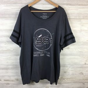 Torrid   Short Rugby Sleeve Graphic Band Tee